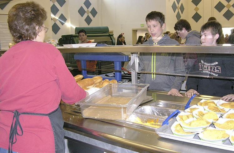 Students are served beef sandwiches in Yamhill, Ore., as part of the Farm to School Program.
